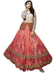 Stylish Fashion Shilpa Shetty Glorious Peach Neck Embroidered Long Anarkali Suit With Attractive Printed Liner