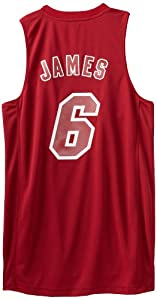 NBA Miami Heat Winter Court Big Color Swingman Jersey, #6 LeBron James, Red, Large