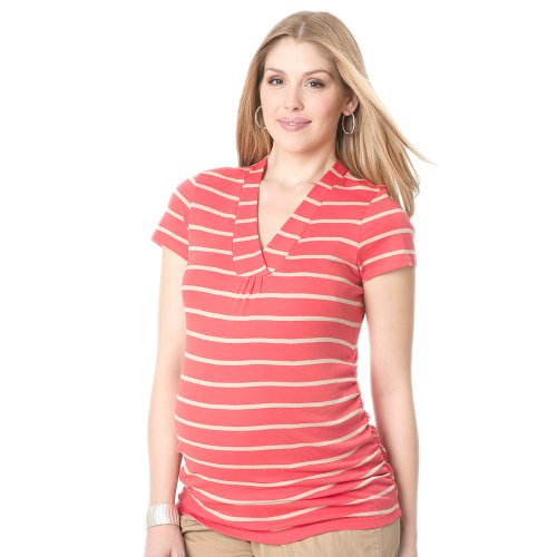 Oh Baby By Motherhood Striped Ruched Tee - Maternity, S