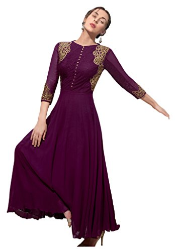 Heart & Soul Designer Wedding & Party Wear Fully Stitched Embroidery Designer Salwar Suits Dupatta XL size for women(Purple)