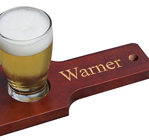 Customized Beer Flight Taster Set Paddle with Glasses - Red/Brown Finish - 1 Line of Engraving - Personalized Wedding Groomsman Gift Monogrammed for Free