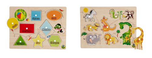 Picture of Group Sales Inc Peg Puzzles Assortment (Shapes And Animals) (B005F2VST0) (Pegged Puzzles)