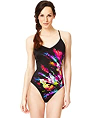 V-Neck Crystal Print Swimsuit