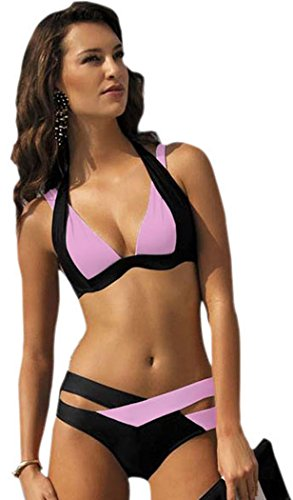 IF FEEL Womens Sexy Pink Black Double Color Criss-cross 2 Piece Padded Push Up Bandage Bikini Swimsuit