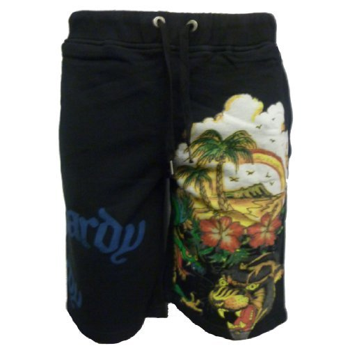 Ed Hardy Mens Aloha Beach Basic Shorts - Black - Medium