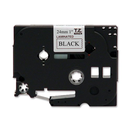 Brother Laminated Tape, Retail Packaging, 1 Inch, Black on White (TZe251) - Retail Packaging