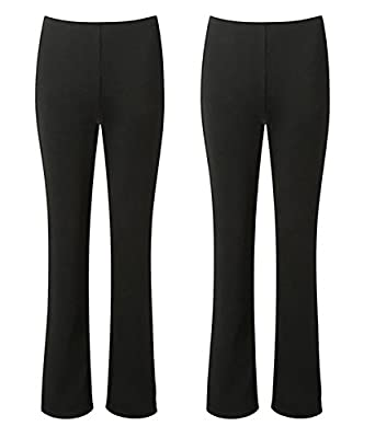 Ladies Stretch Trousers Pack Of 2 Bootleg Stretch Ribbed Trousers Black Size 8-26