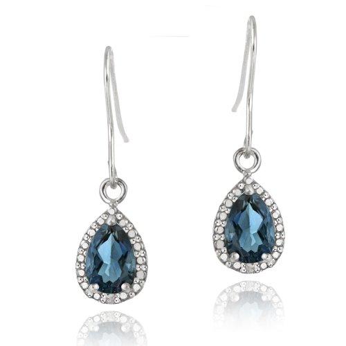 Sterling Silver 3ct London Blue Topaz & Diamond Accent Teardrop Dangle Earrings