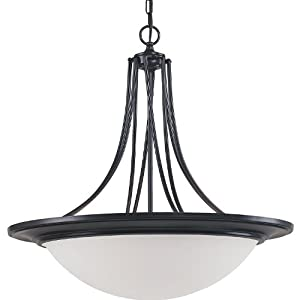 Royce Lighting RP5146/3-101 Gibson Collection Three Light Pendant, Architectural Bronze Finish with White Satin Glass
