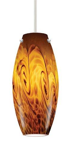 Juno Lighting P88Mpla2-Stn-Ams Charlotte 5W 12V 2700K Led Monopoint Pendant With Amber Storm Art Glass Shade, Satin Nickel Finish