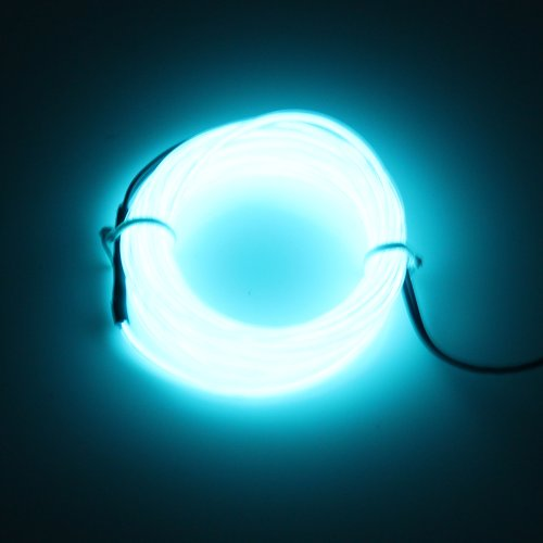 Lerway 5M 2.3mm Diameter EL Wire Light Tron Neon Glowing Rope with 12V Transformer Inverter,for Christmas Party,Coffee Restaurant,Car Dashboard Bike wheel (Light Blue)