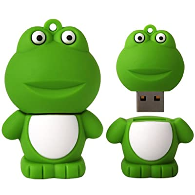 8 GB Novelty XYLO-FLASH Cute Green Frog Keyring USB 2.0 Memory Stick / Pen Storage Flash Drive. Compatible With PC / Mac. by XYLO ACCESSORIES