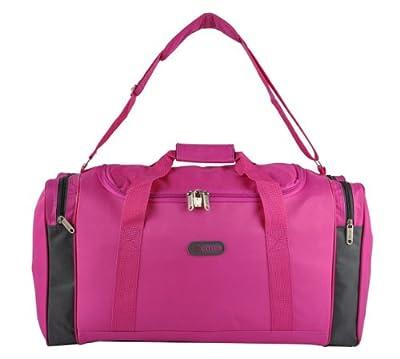 "Small 21"" Mens Womens Holdall Hand Luggage Cabin Flight Bag Carry On Board RYANAIR 54x30x20cm (Fuchsia/Silver)"