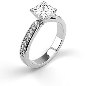 14K White Gold Natural Certified Diamond Engagement Ring 0.69 Carat Weight Princess G IGL Certificate