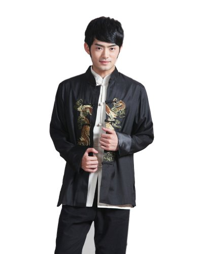 JTC Men's Chinese Top Kong Fu Tai Chi Sport Coat Dragon Embroidery Costume Black