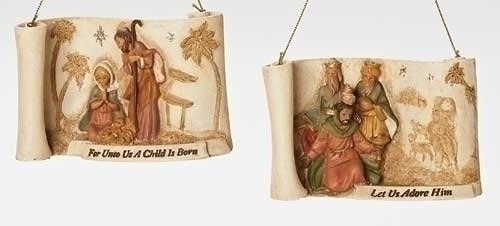 4″ Fontanini Holy Family Scroll Religious Christmas Nativity Ornament with Verse