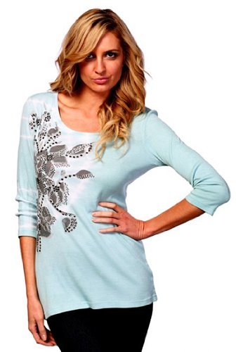 IDI Fashion 3/4 Sleeve Top with Stud Detailing & Floral Print Embellishments