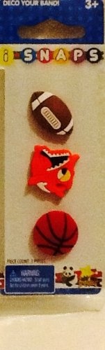 i SNAPS Button Charms! 3 Replacements, or Additions for i SNAPS Rubber Bracelet Band! Football, Basketball, & Piranha!