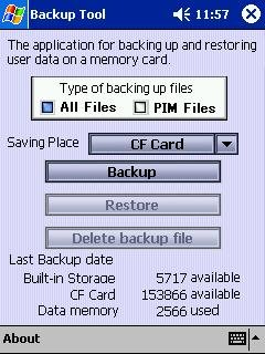 CF card Backup for Pocket PC 2002