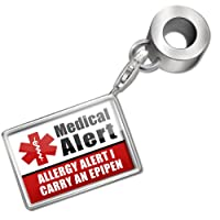 "Neonblond Bead/Charm Medical Alert Red ""Allergy Alert 1 Carry an Epipen"" - Fits Pandora Bracelet from NEONBLOND Jewelry & Accessories"
