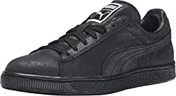 PUMA Women\'s Suede Classic Matt & Shine Black/Steel Gray Sneaker 6 B (M)