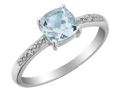 Aquamarine Ring with Diamonds 1.1 Carat (ctw) in 10K White Gold