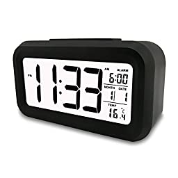 POTLIKIYA Digital Electronic Alarm Clock, Automatic Luminous Calendar Snooze With Date & Temperature Display, Battery Operated ( Not Included ), Black