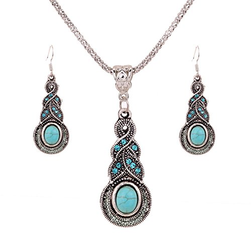 Yazilind Jewellery Tibetan Silver Inlay Oval