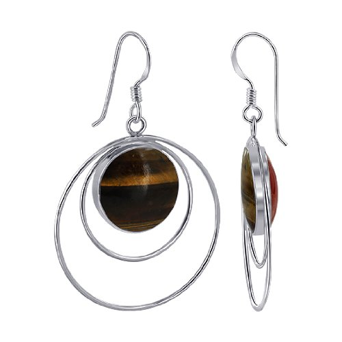 EMES061 Sterling Silver 14mm Round Double Sided Tiger Eye and Simulated Coral Wired design French Ear Wire Dangle Earrings