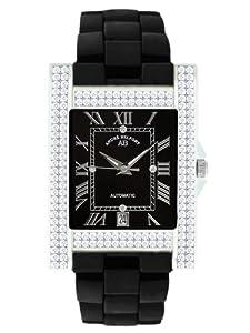André Belfort 410120 - Reloj analógico de mujer automático con correa de cerámica negra - sumergible a 50 metros