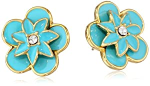 "kate spade new york ""Graceful Floral"" Blue Large Stud Earrings"