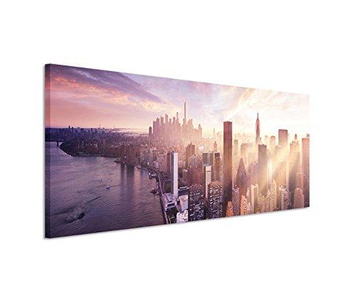 150 x 50 Cm toile sur châssis motif manhattan/new york gratte-ciels de l'eau à la lumière du soir sur toile panoramique motif