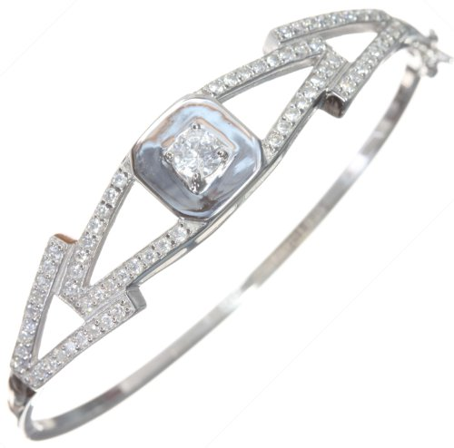 Beautiful 925 Sterling Silver Ladies Bangle with Cubic Zirconia/CZ - 6cm*2mm, 11 Grams