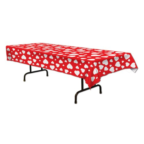 Beistle 70427 Heart Tablecover, 54 by 108-Inch, 1 Per Package