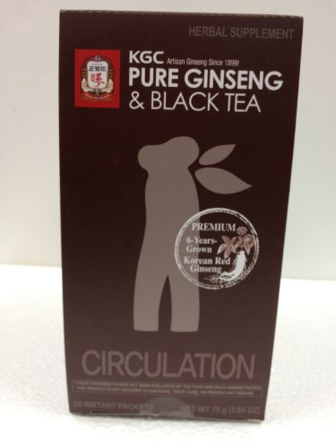 Cheong Kwanjang By Korean Ginseng Corporation Pure Ginseng & Black Tea (Circulation) - 50 Instant Packets (Net Wt 75 G (2.65 Oz))