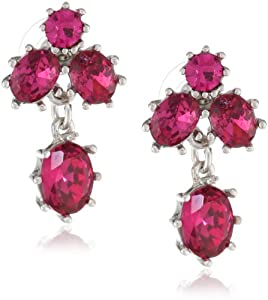 "Betsey Johnson ""Iconic Stone"" Fuchsia Gem Cluster Stud Earrings"