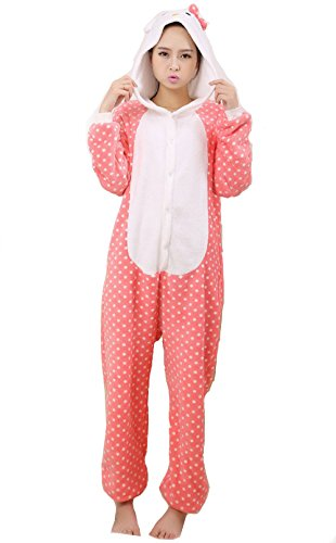 Cute Pink Dot Kitty Cat Kigurumi Costume