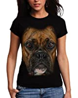 Wellcoda | Boxer Face Pitbull Womens NEW Big Dog Pet Black T-shirt XS-2XL