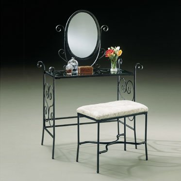 Powell Garden District Vanity, Mirror, and Bench Set