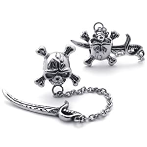 KONOV Jewelry Mens Vintage Stainless Steel Pirate Skull Stud Earrings for men Set, 2pcs, Color Silver (with Gift Bag)