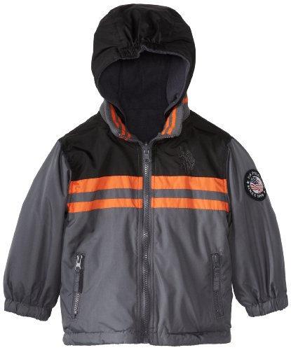U.S. Polo Association Little Boys' Reversible Mid Weight Jacket, Ebony Grey, 2T