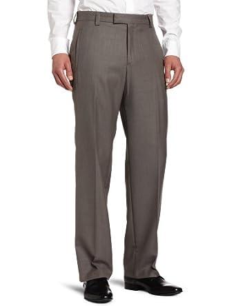 Kenneth Cole Reaction Men's Tonal Herringbone Plain Front Dress Pant, Medium Taupe, 29/30