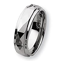 Chisel Ridged Edge Polished Faceted Dura Tungsten Ring (7.0 mm) - Size 12.0