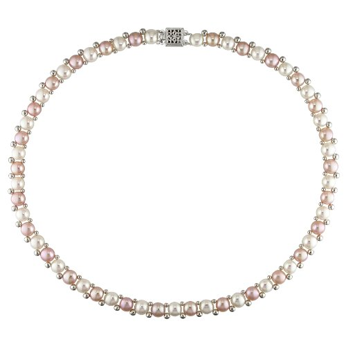 6-7 mm White and Pink Freshwater Pearl Necklace in Silver, 17