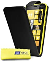 Gbos - Nokia Lumia 520 Black Leather Flip Case Cover Pouch + Free Screen Protector & Mini Touch Stylus Pen Black