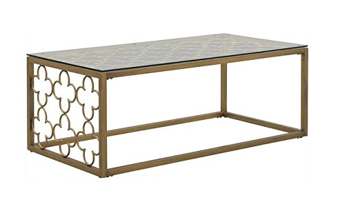 Quatrefoil Goldtone Metal and Glass Coffee Table