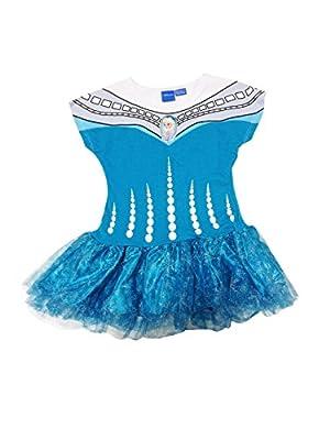 Disney Frozen Queen Elsa Dress White and Turquoise with Snowflake Mesh Tutu