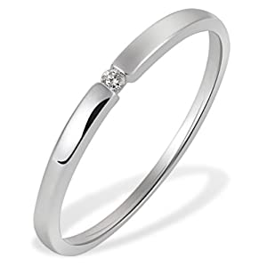 Goldmaid Damen-Ring Solitär Spannfassung 333 Weissgold 1 Brillant 0,03 ct. Gr. 54 So R4696WG54