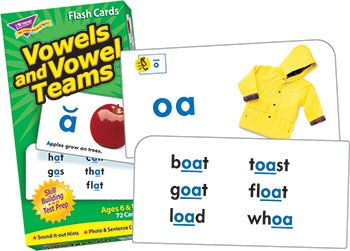 Vowels and Vowel Teams Skill Drill Flash Card Game (72 Pack) - 1