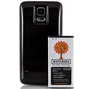 Hyperion Samsung Galaxy S5 / SV (SM-G900) 6500mAh MicroPack Technology Extended Battery with NFC / Google Wallet Capability and Back Cover (Compatible for the Samsung Galaxy S5 / SV SM-G900) **3 Yr NO HASSLE Warranty** - BLACK